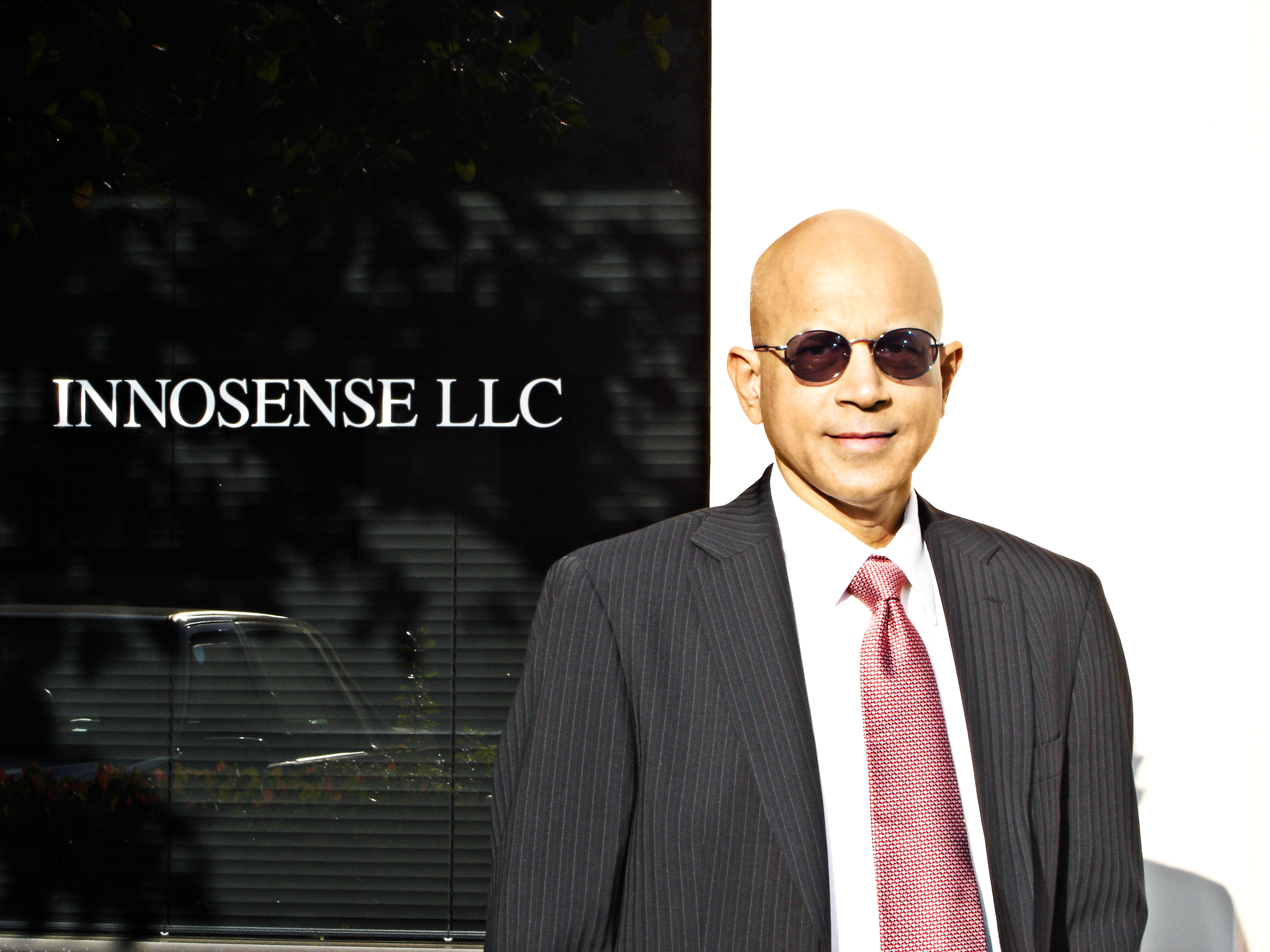 Kisholoy Goswami, CEO, in front of InnoSense